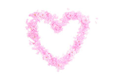 Heart shape made from pink petals and blossoms Stock Photos