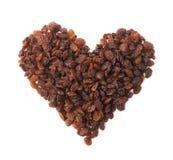Heart shape made of raisins Royalty Free Stock Photos