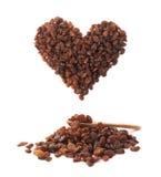 Heart shape made of raisins Royalty Free Stock Photography