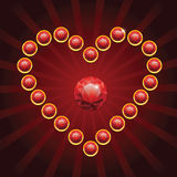 Heart shape made from red diamonds Stock Photo
