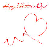 Heart shape made of red ribbon. Valentine's day greeting card. Vector eps10 illustration Royalty Free Stock Photos