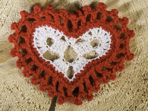 Heart shape made of red textile Royalty Free Stock Images