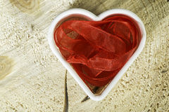 Heart shape made of red textile Royalty Free Stock Photo