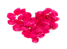 Heart shape made of rose petals in bright red Stock Photos