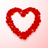Heart shape made of rose petals Stock Image