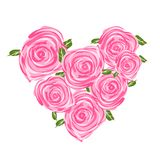 Heart shape made from roses for your design Stock Image