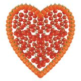 Heart shape made of tomatoes. And cherry truss tomatoes on a white background vector illustration