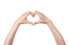Heart shape made of two beautiful palms Royalty Free Stock Image