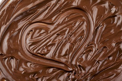 Heart shape made up of melted chocolate Stock Photo