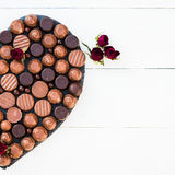 Heart Shape Made with Various Types of Chocolate Truffles Stock Image