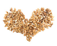 Heart shape made of walnuts Stock Photography