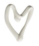 Heart shape made of white cream on a white background, can be us Stock Photo