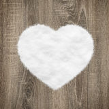 Heart shape made of wood and snow Stock Photography