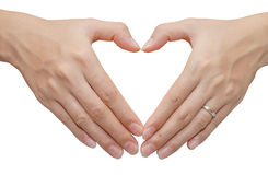 Heart shape make from two hand Stock Images