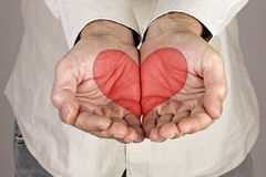 Heart Shape in male hands Royalty Free Stock Image