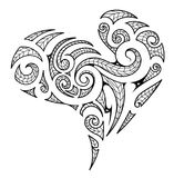 Heart shape in Maori style tattoo. Heart shape in Maori tribal style with artistic koru elements Royalty Free Stock Images