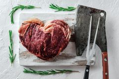 Heart shape marbling ribeye steak stock images