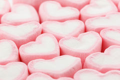 Heart shape marshmallow background Royalty Free Stock Images