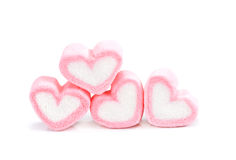 Heart shape marshmallow with on background, Pink heart shape mar. Shmallow for love theme and Valentine background concept.Romance pink heart pastel color royalty free stock photos