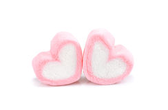 Heart shape marshmallow with on background, Pink heart shape mar. Shmallow for love theme and Valentine background concept.Romance pink heart pastel color royalty free stock image