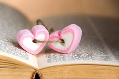 Heart shape marshmallow on book for valentines day stock image