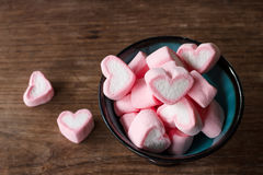 Heart shape marshmallows Stock Photos