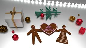 Heart shape Merry Christmas greeting and gingerbread man and woman vector illustration