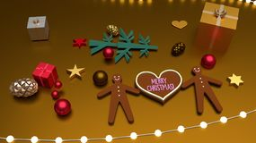 Heart shape Merry Christmas greeting and gingerbread men stock illustration