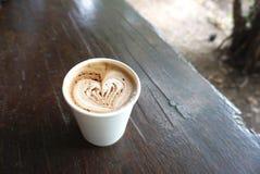 Heart shape on the mocha coffee Royalty Free Stock Image