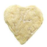 Heart shape moldy goat cheese isolated on white Stock Photos