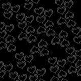 Heart Shape Monochrome Repeated Black royalty free illustration