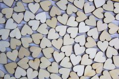 Heart shape from natural tree.Love theme concept with wooden hearts for Valentine`s background and love theme. Royalty Free Stock Photo