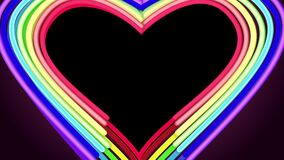 Heart shape from neon lines on black background. LGBT romantic card for same sex lovers in Valentine day. Romantic