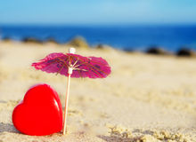 Heart shape by the ocean Stock Photo