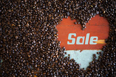 Free Heart Shape Of Coffee Beans With The Word  Sale  Stock Photography - 60764102