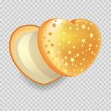 Heart-shape open gift box of shiny iridescent orange color with gold stars  vector Royalty Free Stock Photography