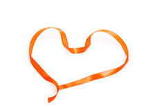 Heart shape of orange braid Stock Photos