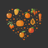 Heart shape with orange fruits and vegetables Stock Photos