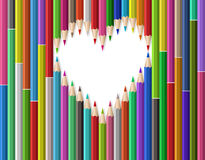 Heart shape out of pencils Stock Photo