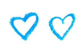 Heart shape isolated. Heart shape outline drawn with a wax crayon isolated over the white background, set of two different foreshortenings stock photo