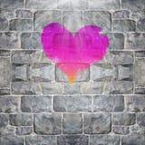 Heart shape painted. On brick stone wall Royalty Free Stock Photos