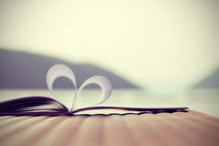 Heart shape from paper book with lake and mountain (vintage background) Royalty Free Stock Images