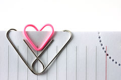 Heart shape paper clip Stock Photography