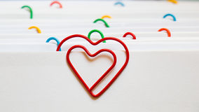 Heart shape paper clip Stock Images