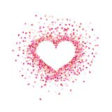 Heart shape paper confetti. Valentines petals top view. Isolated on white background. EPS 10 royalty free illustration