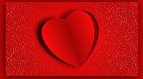 Heart shape paper cut design for calligraphy background Stock Photos