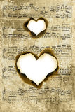 Heart shape parchment Stock Images