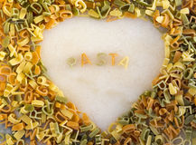 Heart shape pasta sign Stock Photo