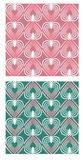 Heart shape patterns in mute nostalgic colors, pink and green variant, seamless abstract retro background Royalty Free Stock Image