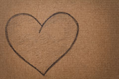Heart shape in pencil on cardboard Royalty Free Stock Image